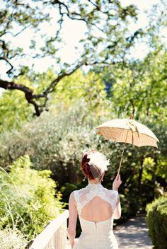 vintage parasol - wedding gown by Monique Lhuillier