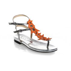 6521 Fabi Sandals (27.505 RUB) ❤ liked on Polyvore featuring shoes, sandals, orange sandals, orange leather shoes, real leather shoes, orange shoes and leather shoes