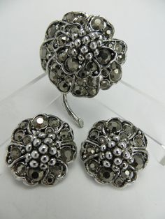 Signed Hollycraft Pin Earrings Marcasite Rhinestones by LadyandLibrarian, $54.00