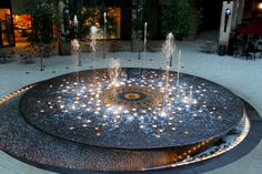 Modern Water Feature, Outdoor Water Features, Pond Water Features, Modern Fountain, Fountain Design, Landscape Elements, Landscape Design, Fountain Lights, Fountain Plaza