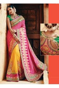 Exclusive zari work traditional wedding saree with heavy designer blouse