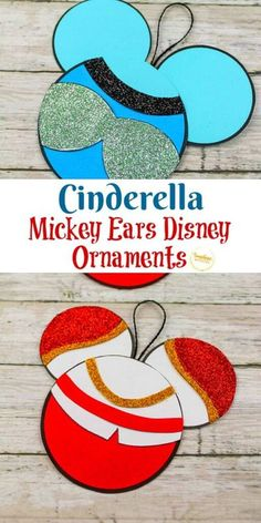 Try out this Cinderella Mickey Ears Disney Ornament Craft from Sunshine Whispers! This ornament craft is perfect for little Disney-lovers. Your kids will love hanging this creative ornament on the Christmas tree! | Disney Crafts for Kids #christmas #ornament #christmasornament #diyornaments #disneycrafts #disney