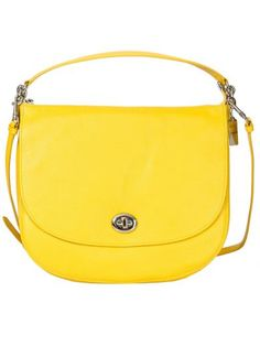 COACH Yellow Leather Shoulder Bag. #coach #bags #shoulder bags #leather #lining #cotton
