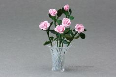 A Glass Vase Arrangement of Miniature Paper Roses for a Dolls House in 1:12 Scale - Photo ©2008 Lesley Shepherd, Licensed to About.com Inc.