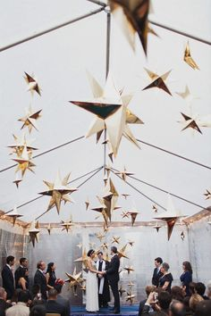 Star ceremony decor idea - modern wedding decor - See more celestial wedding ideas on WeddingWire! {Les Loups}