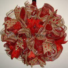 Ruffled Valentine Burlap and Mesh Wreath by StarlightWreaths