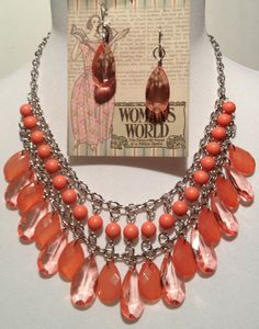 "Statement necklace and earrings set. Shades of Coral. 18 inch in length with 3"" extender by RockinRobinsBling, $20.00"