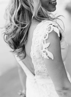 Sleeve detail on a stunning Lela Rose Wedding Gown.  Photo by Clark Brewer.