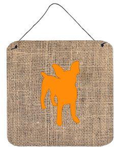 Chihuahua Burlap and Orange Aluminium Metal Wall or Door Hanging Prints BB1108