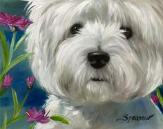 SPARROW West Highland Terrier westie dog portrait flowers lake summer puppy art
