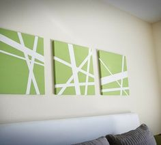 "This is a very easy and fun way to create some modern art for your home. Buy canvas (remember to buy the fully wrapped, 2"" thick so you don't see the staples), use painters tape to create your design, paint over the whole thing in the color you want. Wait for it to dry, peel back tape and voila! Artwork."