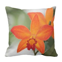 Orange Orchid Cotton Pillow SOLD Thank you to the buyer in Pennsylvania!