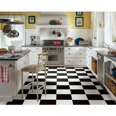 black and white kitchen tile floor - Google Search