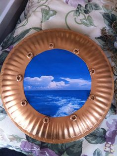 DIY porthole: paper plate, picture of ocean, Cheerios, and spray paint. Could use this if I even turn Jake's room into a pirates room. Deco Pirate, Pirate Theme, Pirate Party, Pirate Crafts, Vbs Crafts, Sunday School Themes, Submerged Vbs, Pirate Bedroom, Cruise Party