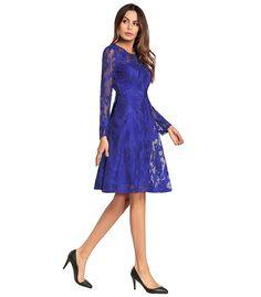 4ea6a73fd1 Lace Neckline Long Sleeves Knee-length A-line Dress. Virágos Ruhák, Maxi ...