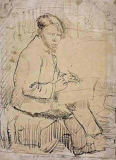 Sir William Orpen, 1878 - 1931. Artist (Self-portrait), pen and ink
