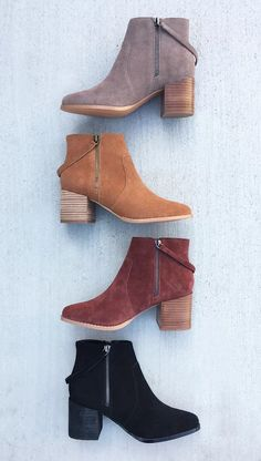 The cutest suede ankle boots.... I'll take a pair in each color please!