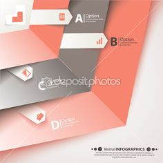 Modern business steb origami style options banner. — Illustration #37663215