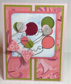 I made this card combining two challenges #GDP023 and and Just Add Ink #299 for inspiration. GDP023 was a theme challenge .... balloons and JAI299 was using a photo of pink lemonade and watermelon wedges for inspiration. I thought the layout was from another challenge but I could not find that challenge when I searched. I used all Stampin' Up products (many of them retired). The DSP is Raspberry Tart, cardstock is Pink Pirouette, the green layer is Kiwi Kiss and the darker pink is Cameo…