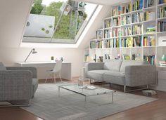 moderne wohnzimmer bilder weies regal unter der dachschrgen - Modernes Tagesbettgestell