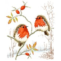 Winter Robins Cross Stitch Pattern