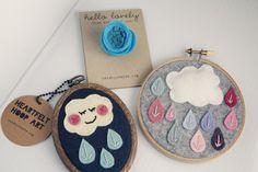 Embroidery Hoop Art // Felt Rain Clouds // Felt // Hoop Art // Kids Decor