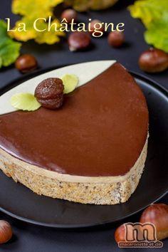 La châtaigne - Gâteau entremets au crémeux marrons et bavarois chocolat, croustillant praliné et dacquoise noisette