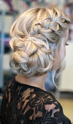 Main of honor Bridesmaid hair all different