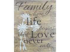 Barnboard Sign - Family where life begins