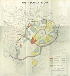 「ネオ トーキョー プラン(新東京計画)」の地図。昭和34年(1959年)