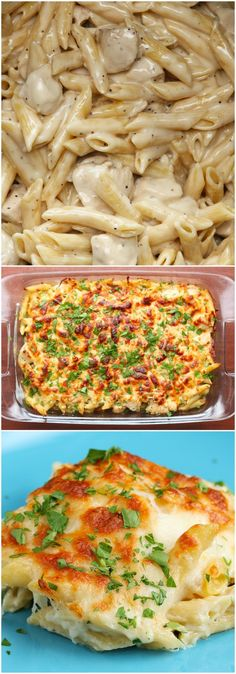 Cheesy Chicken Alfredo Pasta Bake                                                                                                                                                     More