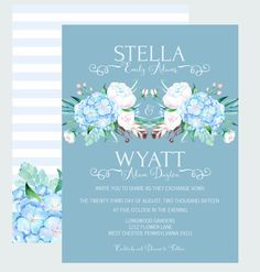 Blue Floral Wedding Invitations Boho and Tribal Ceremony Invites Elegant Affair Personalized Wedding Suite Printable or Printed Cards (BW1Q)