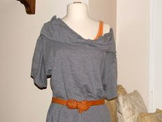 WobiSobi: Project Restyle #27: Two Grey T-shirts into a off the shouder dress.
