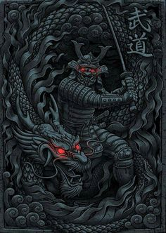 'Dragon Samurai' by Arte Ninja, Ninja Kunst, Ninja Art, Dragon Samurai, Ronin Samurai, Samurai Warrior, Dragon Warrior, Japanese Artwork, Japanese Tattoo Art