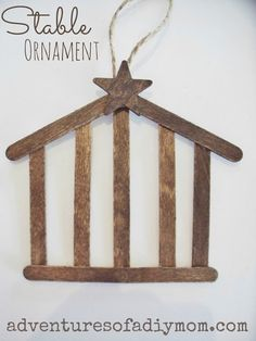 Cute cute stable ornament w/craft sticks. // Would be a great alternative for the stable ornament on day 14 of Preschool Christmas, Noel Christmas, 12 Days Of Christmas, Christmas Activities, Christmas Crafts For Kids, Diy Christmas Ornaments, Homemade Christmas, Christmas Projects, Holiday Crafts