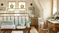 Restful Master Bedroom | A charming carriage house on Maine's rocky coast gets infused with holiday spirit—and classic coastal character. Step inside!