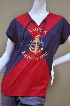 Ralph Lauren Womens Signature Red Navy Nautical Shirt Tee Blouse Sz L  #RalphLauren #KnitTop #Casual