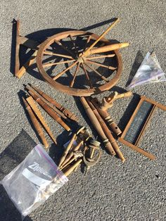 Vintage Spinning Wheel Project Parts