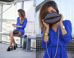 Love Playsuit, Bianco Shoes, Persunmall Bag - Royal Blue - Maria  L.