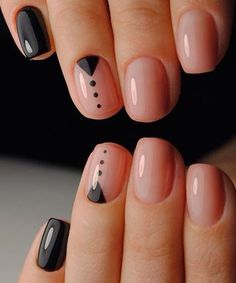 Gorgeous Gel Nail with Black Designs to Look Beautiful on Your Big Day