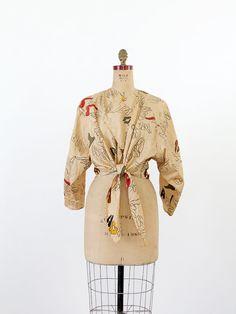 Vintage La Squadra Blouse / 80s Tie Waist Jacket by 86Vintage86
