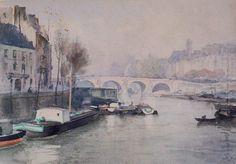Le pont Marie - H. Zuber - Paris en 1886 - Aquarelle - Coll. part.