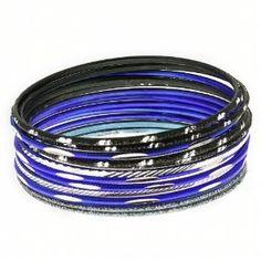 Multiples bracelets fins - Bangle indiens fashion Bleu et Noir: ShalinCraft: Amazon.fr: Bijoux