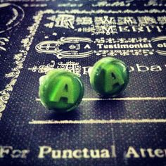 Xbox Button Earrings studs A Green button handmade handcrafted xbox 360 video games ear ring studs call of duty gears of war. $12.89, via Etsy.