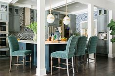 House of Turquoise: HGTV Casa Inteligente 2016 Kitchen House Of Turquoise, Blue Kitchen Island, Floor To Ceiling Cabinets, Beadboard Backsplash, Backsplash Ideas, Quartz Backsplash, Blue Backsplash, Stone Backsplash, Herringbone Backsplash