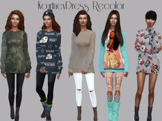 Teenageeaglerunner: Kourtney Sweater Dress Recolor • Sims 4 Downloads