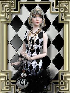 Nu Mood Jess Fashion - Lily Basic (2012) outfit : Harlequin (2005), DecoDance hat aud bag (2004), Viva Las Vegas earring and bracelet (2012), Signature Statement necklace (2011)