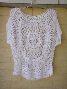 """White Feminine Blouse Top in Hairpin Crochet Pattern perfect for hot summer days and also an irreplaceable beachwear accessory that will make you look stunning! made with acrylic yarn in Standard size measured 23"""" in length 40"""" in bust circumference"""
