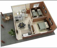 Small Modern House Plans, 2 Bedroom House Plans, Sims House Plans, Small House Design, House Floor Plans, House Rooms, Studio Apartment Floor Plans, Model House Plan, Hotel Room Design