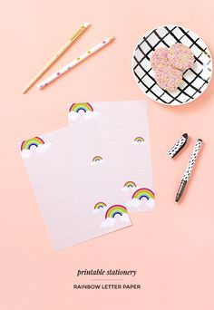 Printable rainbow lined letter paper - click through for the free download